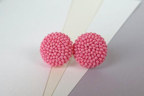 """Rožiniai apvalūs auskarai """"Gervuogėlės"""""""